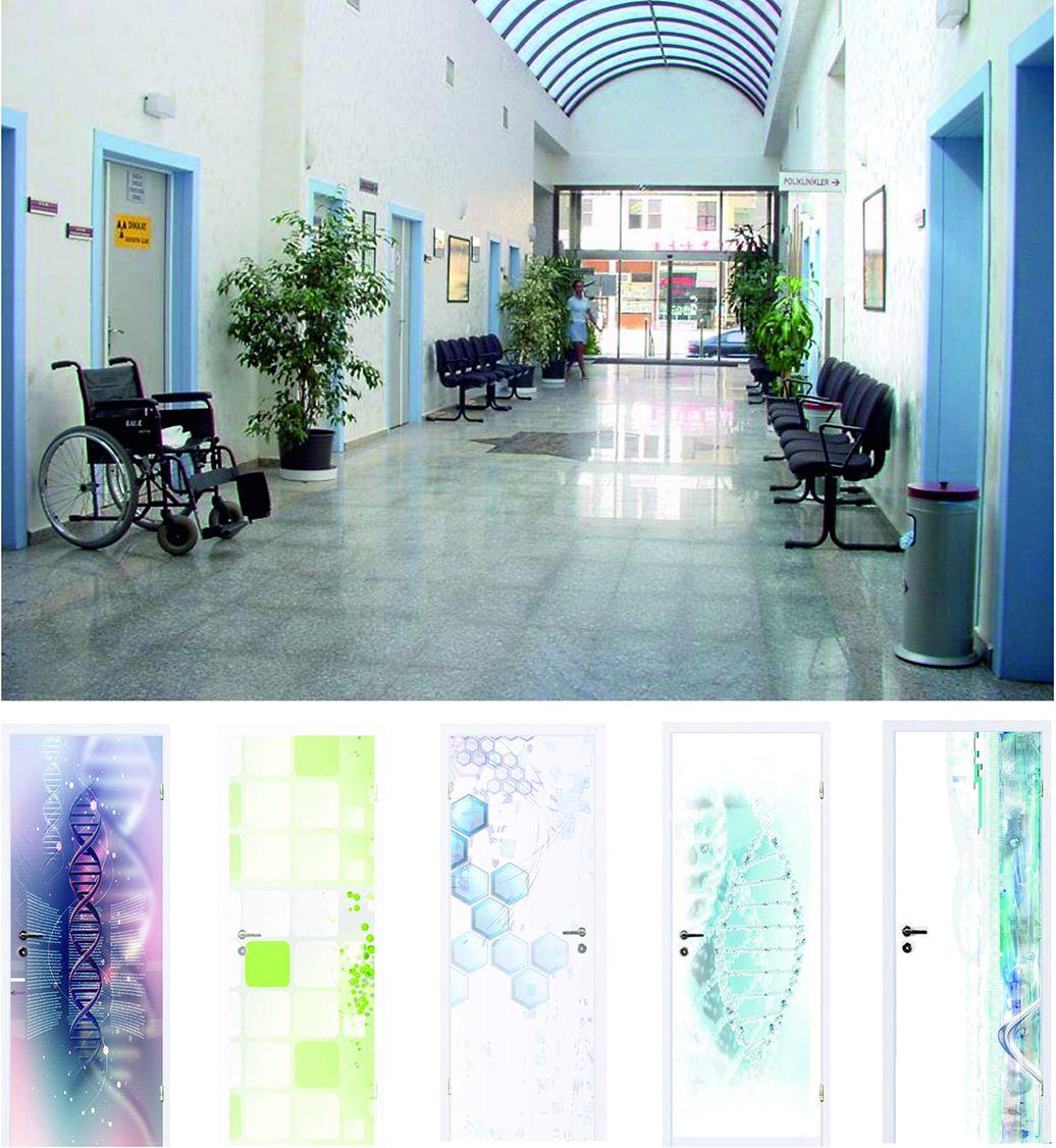 Медицинские двери в больницу или поликлинику